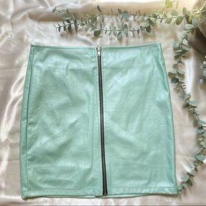 Forever 21 Teal Blue Mini Skirt Zip Front …
